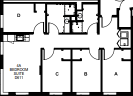 Douthit West Efficiency Apartment layout